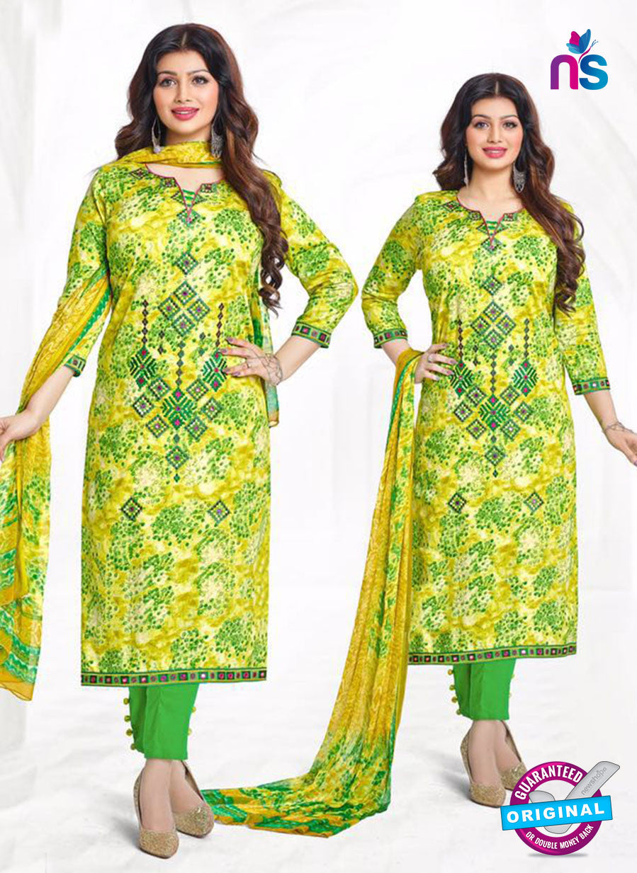 Buy Aashirwad 17008 Green Cotton Satin Formal Suit Online