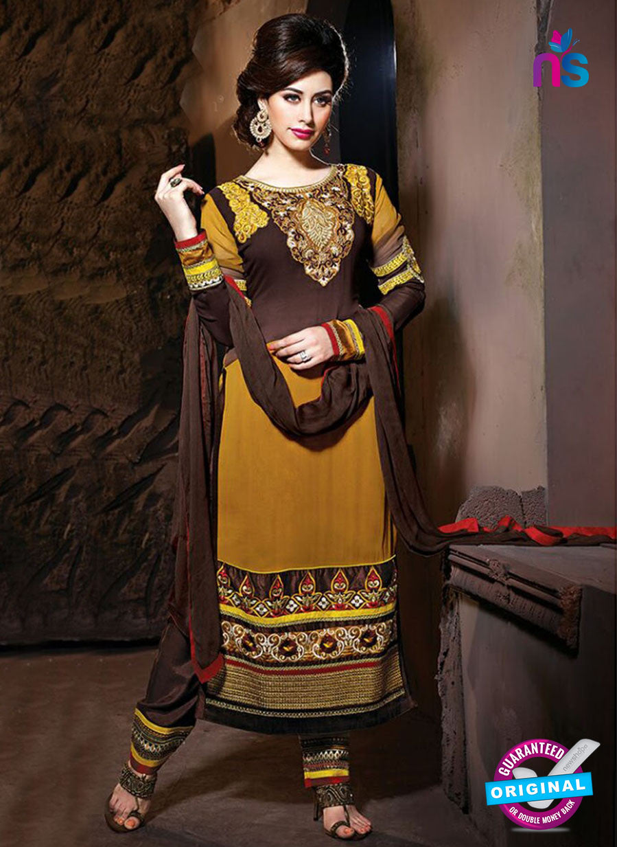 NS 12319 17008 Brown Embroidered Semi Georgette Party Wear Designer Suit