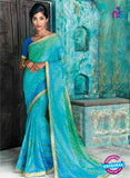 AZ 2014 Sky Blue and Green Georgette Fancy Formal Saree