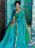 AZ 2014 Sky Blue and Green Georgette Fancy Formal Saree - Sarees - NEW SHOP
