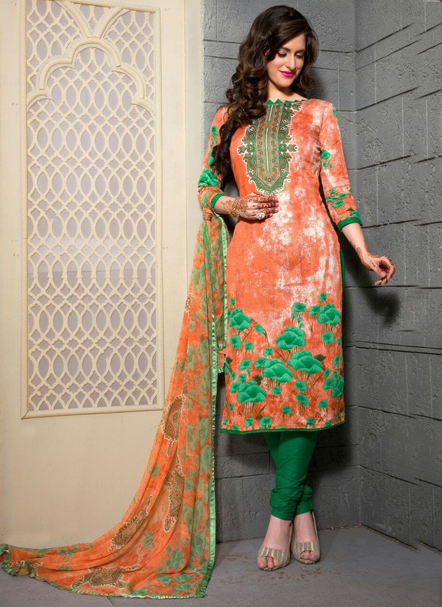 Rupali 17009  Green & Orange Color Cotton Designer Suit