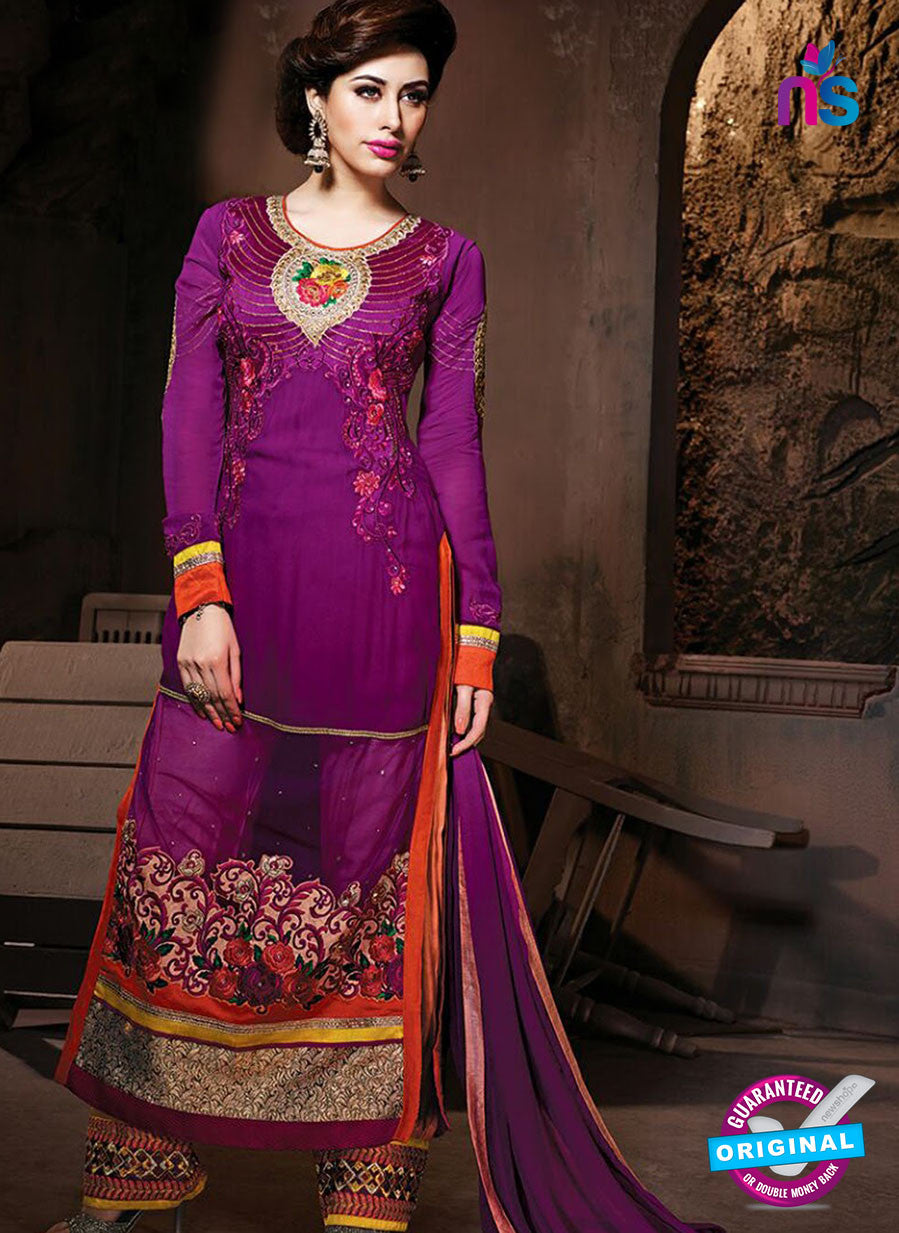 NS 12321 17009 Purple Embroidered Semi Georgette Party Wear Designer Suit
