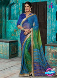 AZ 2016 Blue and Green Georgette Fancy Formal Saree