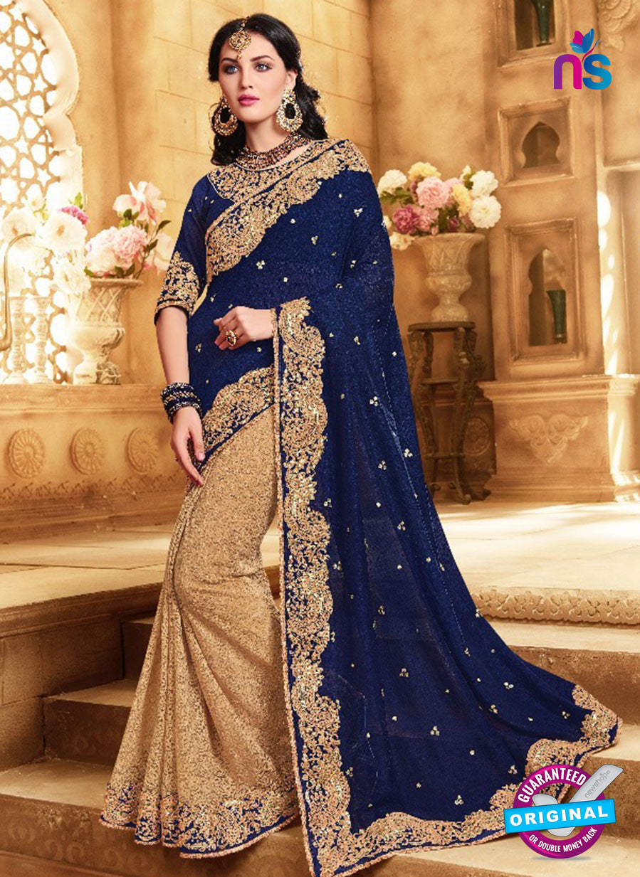 SC 13677 Blue and Beige Exclusive Designer Fancy Ethnic Wedding Wear Saree