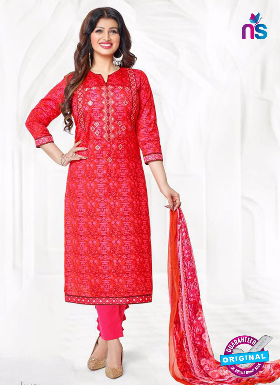 Buy Aashirwad 17010 Red Cotton Satin Formal Suit Online