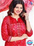 AZ 3563 Red Cotton Satin Formal Suit - Salwar Suits - NEW SHOP