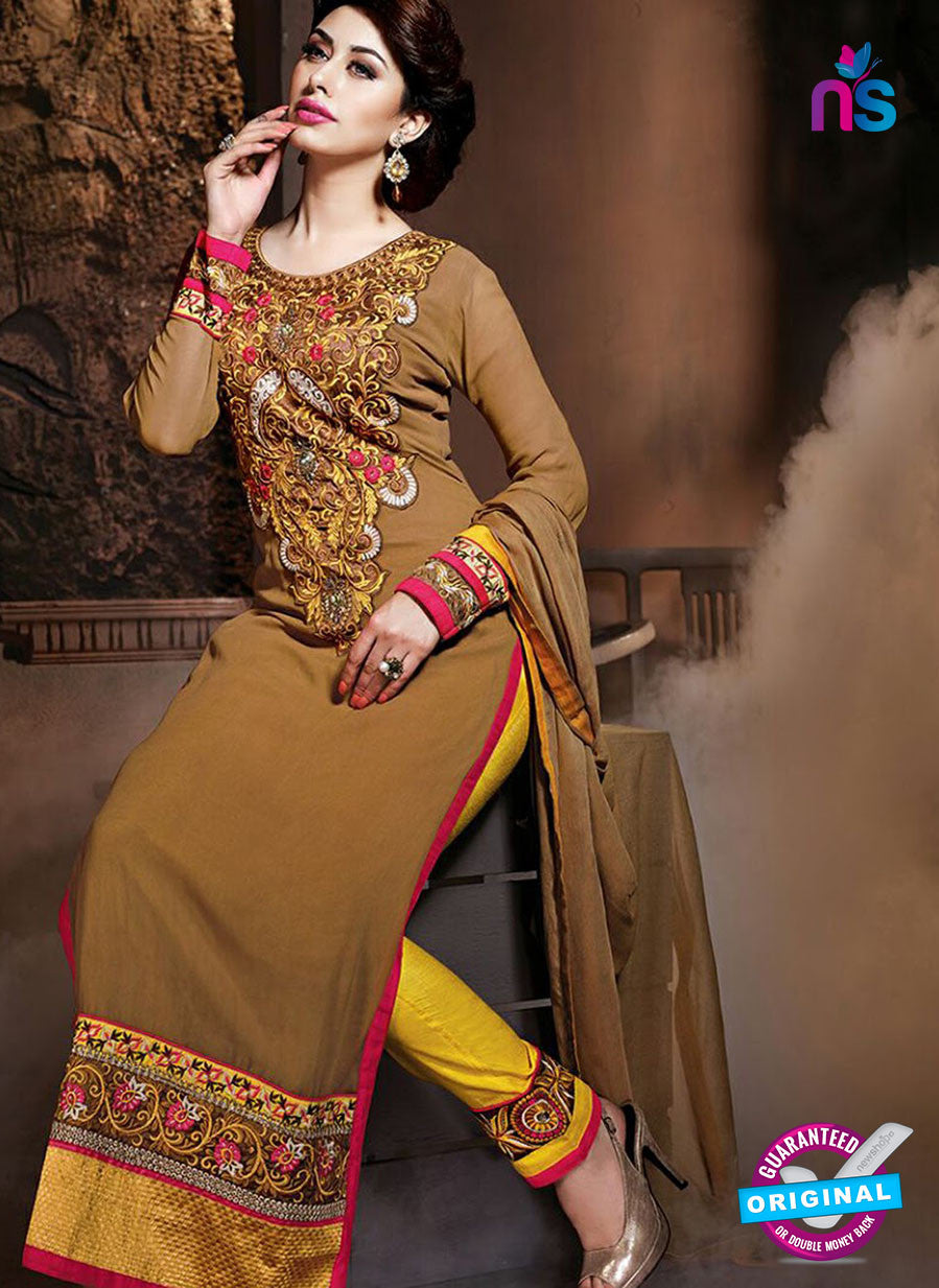 NS 12320 17012 Brown and Yellow Embroidered Semi Georgette Party Wear Designer Suit
