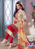 SC 12696 Beige and Red Embroidered Pure Cotton Jacquard Straight Suit