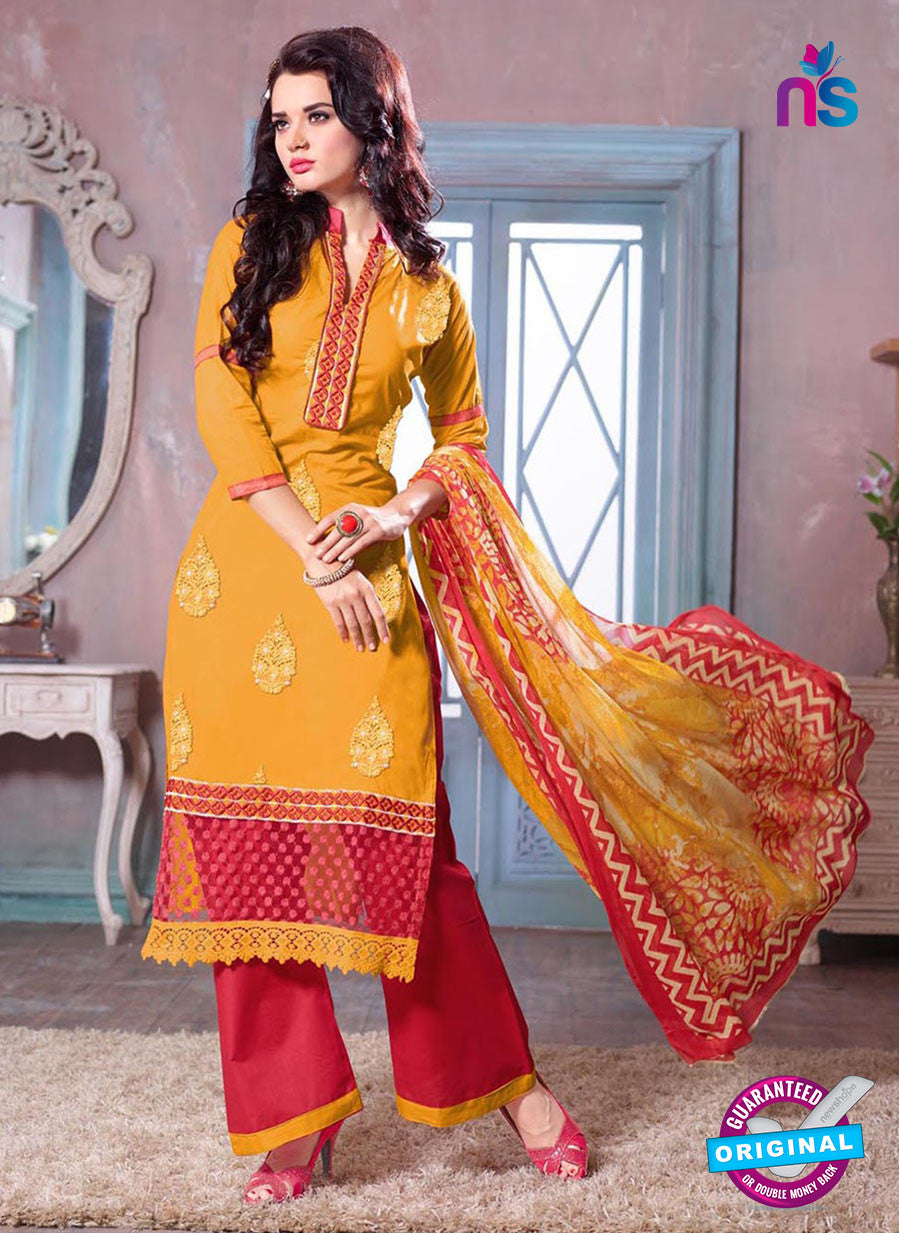 SC 12692  Yellow and Red Embroidered Pure Cotton Jacquard Straight Suit