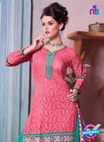 SC 12695 Pink and Green Embroidered Pure Cotton Jacquard Straight Suit