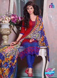 SC 12700 Red and Blue Embroidered Pure Cotton Jacquard Straight Suit