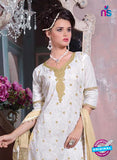 SC 12697 White and Beige Embroidered Pure Cotton Jacquard Straight Suit