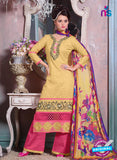 SC 12698 Yellow and Pink Embroidered Pure Cotton Jacquard Straight Suit