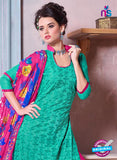 SC 12694 Green and Magenta Embroidered Pure Cotton Jacquard Straight Suit