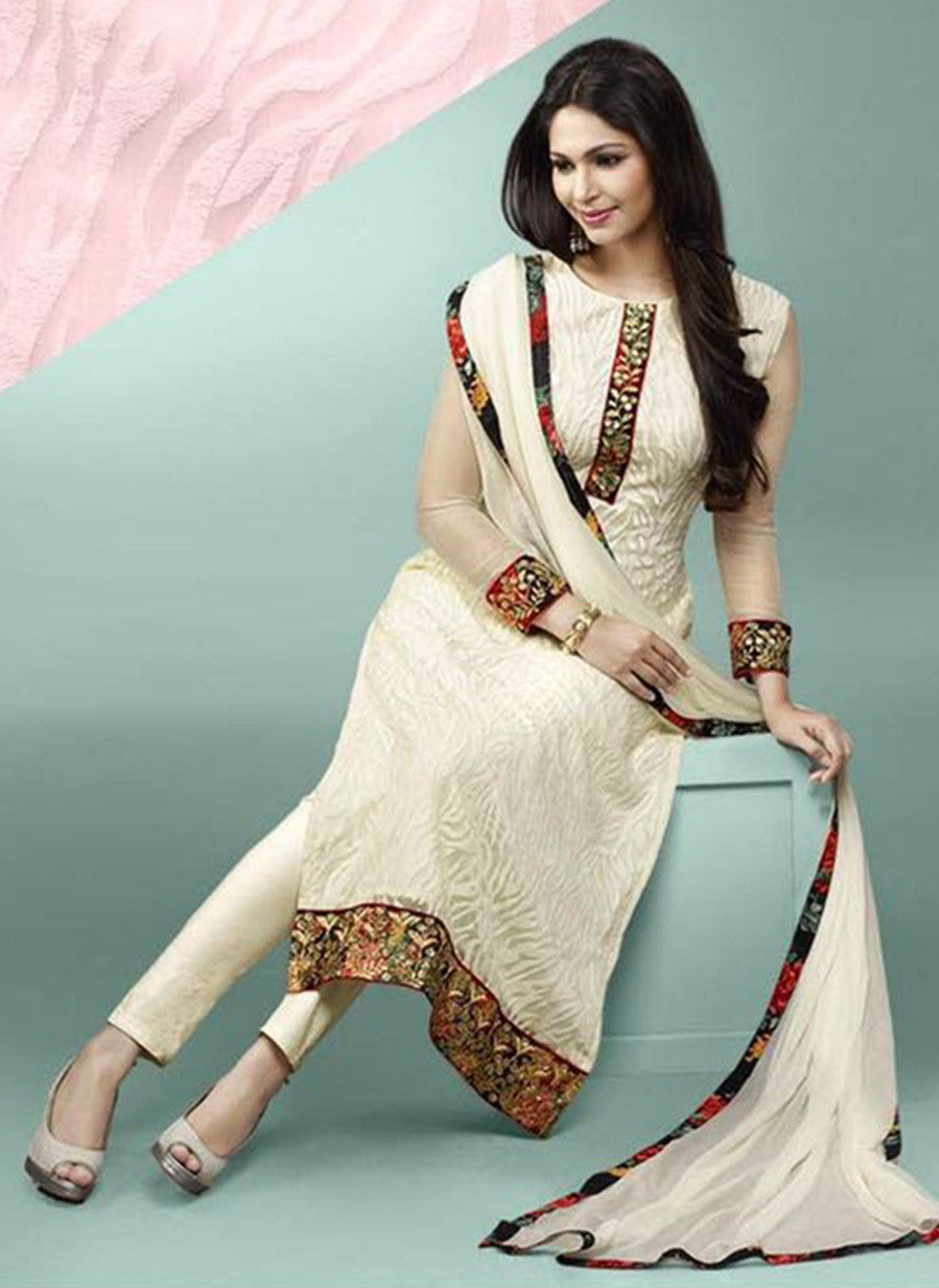 Ekta 1702  White Color Chiffon Designer Suit