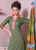 SC 12699 Green and Orange Embroidered Pure Cotton Jacquard Straight Suit