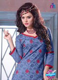 SC 12693 Blue and Red Embroidered Pure Cotton Jacquard Straight Suit