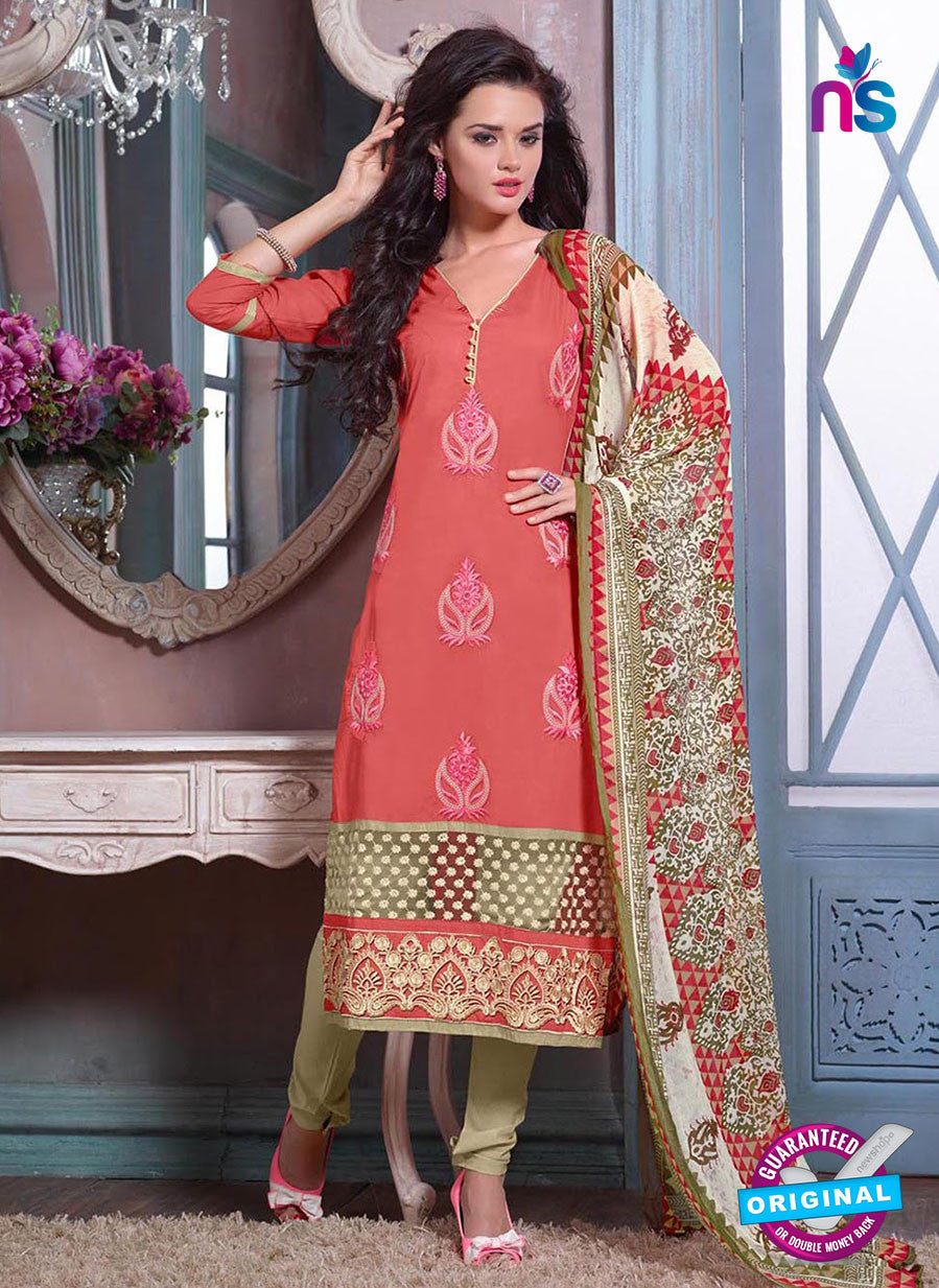 SC 12701 Peach and Beige Embroidered Pure Cotton Jacquard Straight Suit