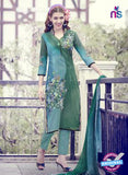 Teazle 1707 Green and Sky Blue Fine Cotton  Designer Suit