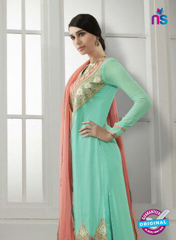 Eternal 170 Sea Green Georgette Embroidery Party Wear Suit Online