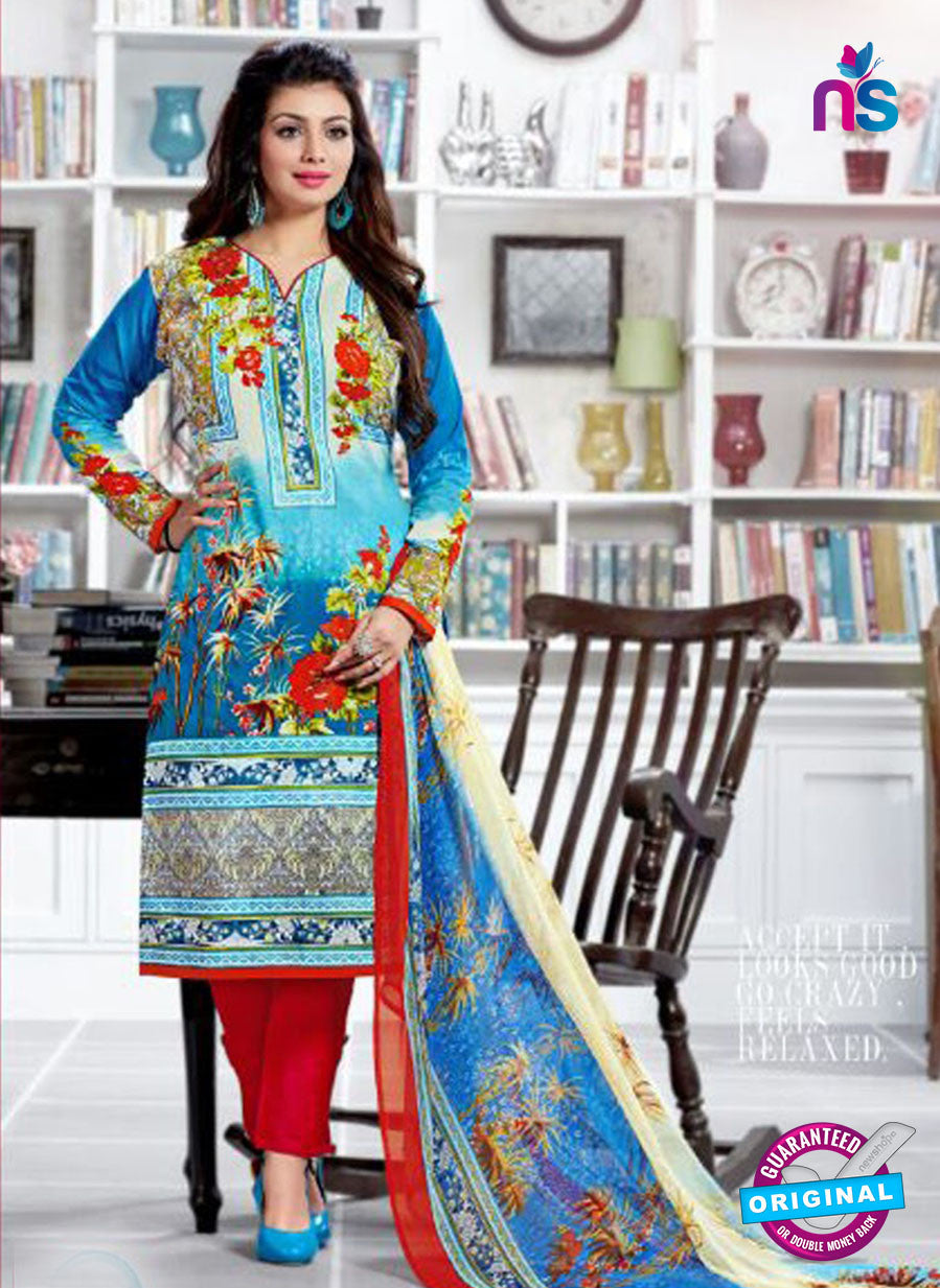 SC 12522 Blue and Multicolor Printed Cambric Cotton Staight Suit