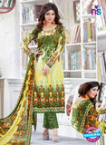 SC 12517 Green and Multicolor Printed Cambric Cotton Staight Suit
