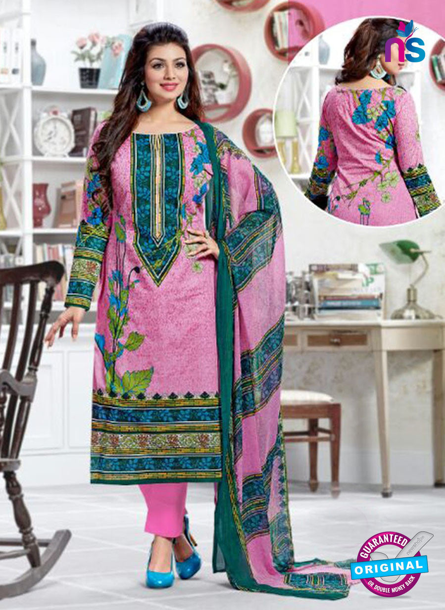 SC 12518 Pink and Multicolor Printed Cambric Cotton Staight Suit