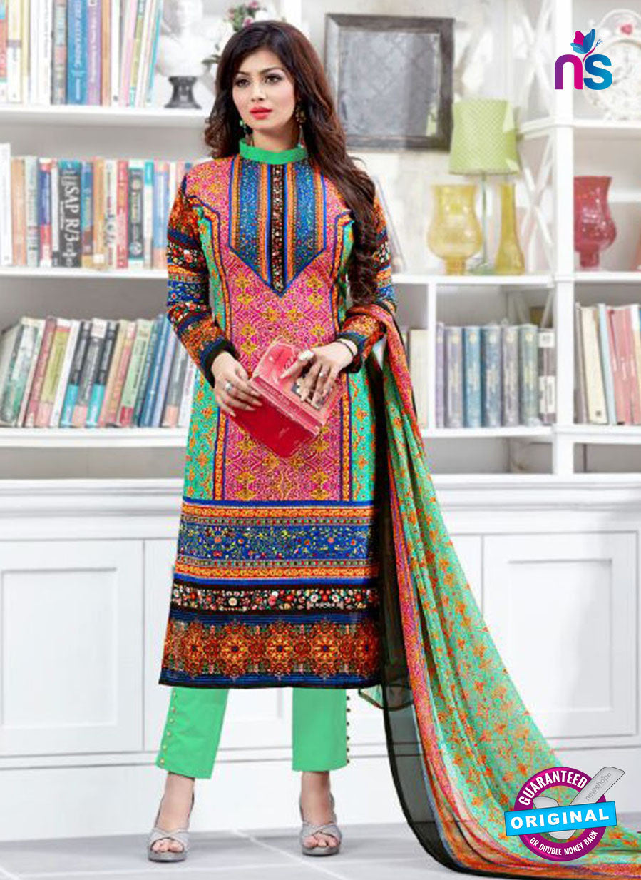 SC 12516 Green and Multicolor Printed Cambric Cotton Staight Suit