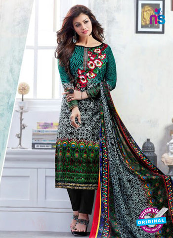 SC 12521 Black and Green Printed Cambric Cotton Staight Suit