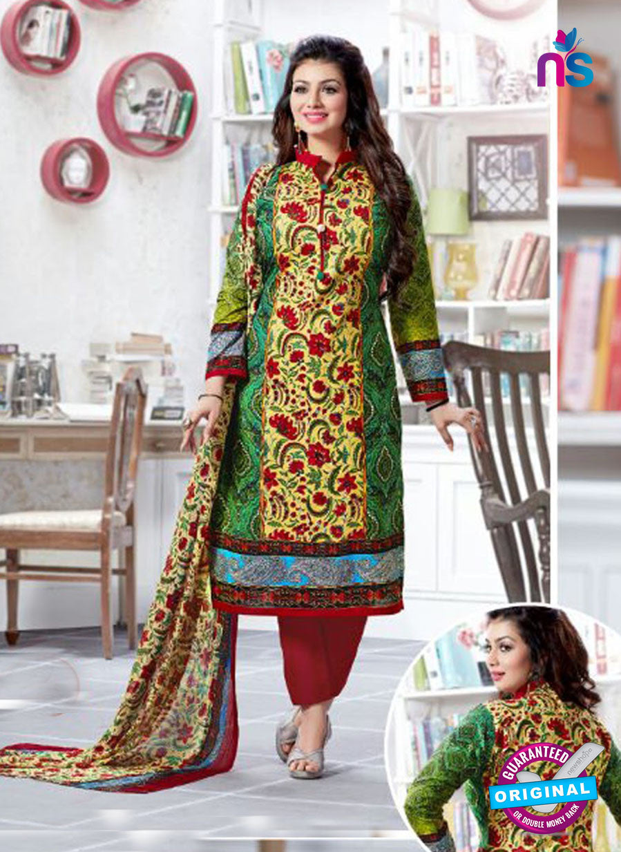 SC 12519 Yellow, Green and Maroon Printed Cambric Cotton Staight Suit