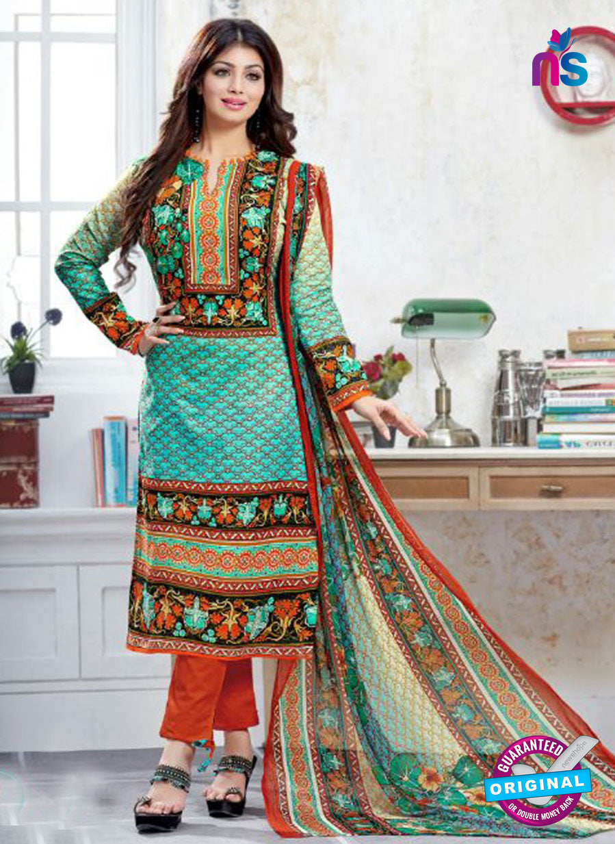 SC 12524 Green and Orange Printed Cambric Cotton Staight Suit