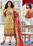 SC 12523 Yellow and Multicolor Printed Cambric Cotton Staight Suit