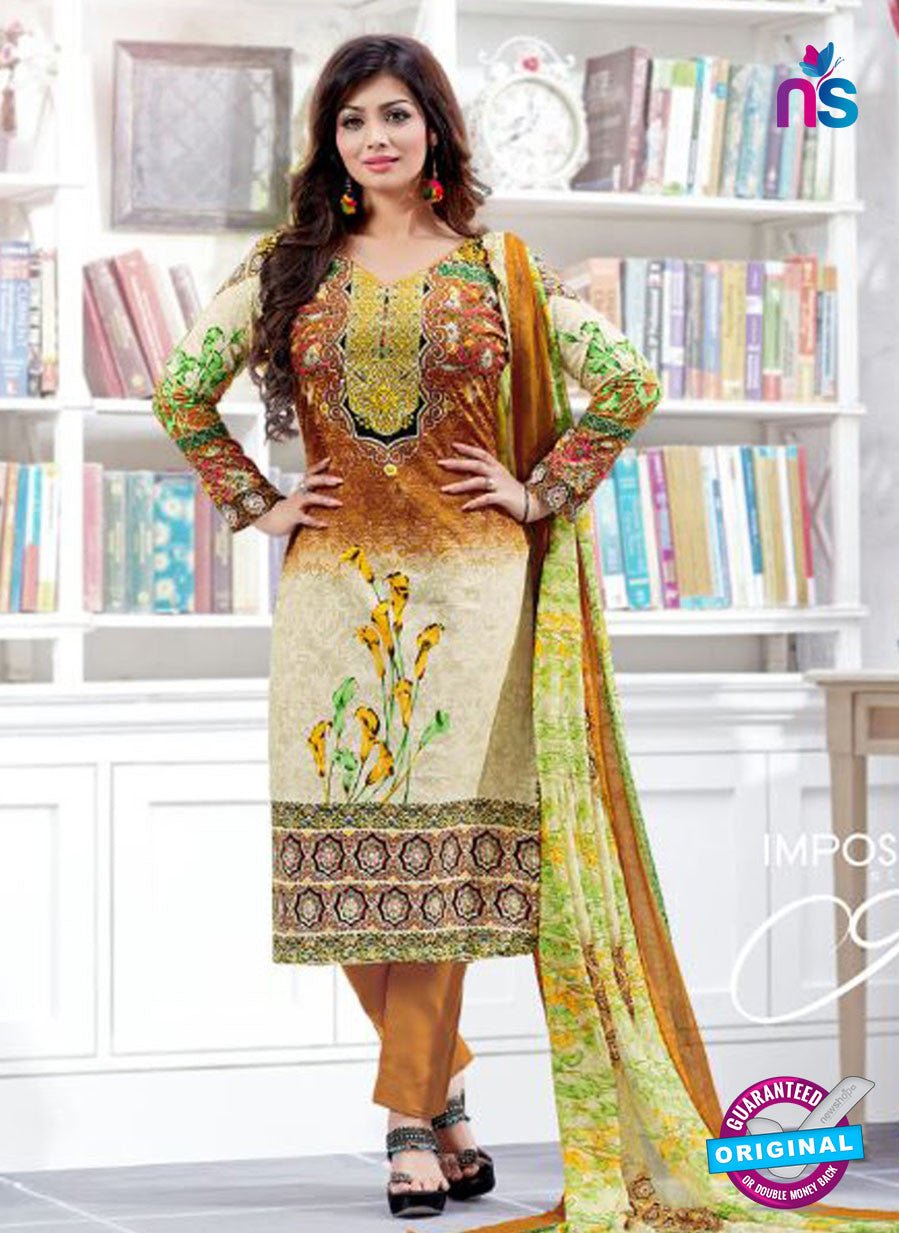 SC 12520 Beige and Multicolor Printed Cambric Cotton Staight Suit