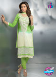 NS10711 Parrot Green and Ivory Party Wear Nazneen Designer Straight Suit