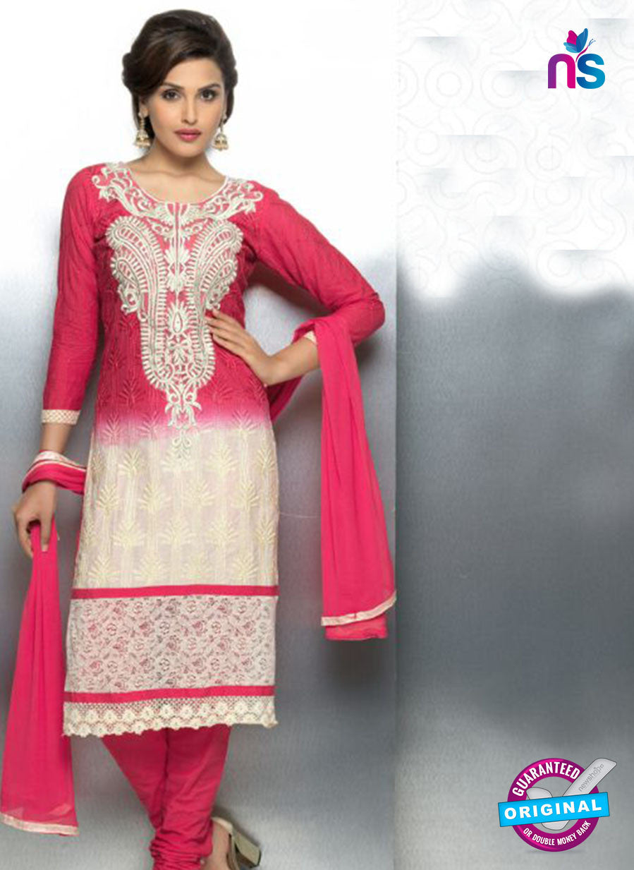 NS10712 Magenta and Ivory Party Wear Nazneen Designer Straight Suit