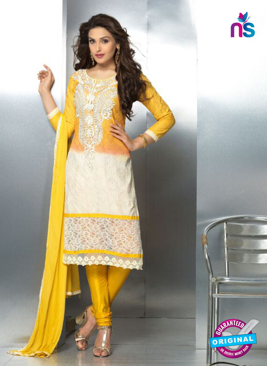NS10713 Yellow and Ivory Party Wear Nazneen Designer Straight Suit