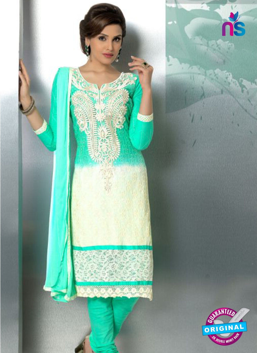NS10714 Green and Ivory Party Wear Nazneen Designer Straight Suit