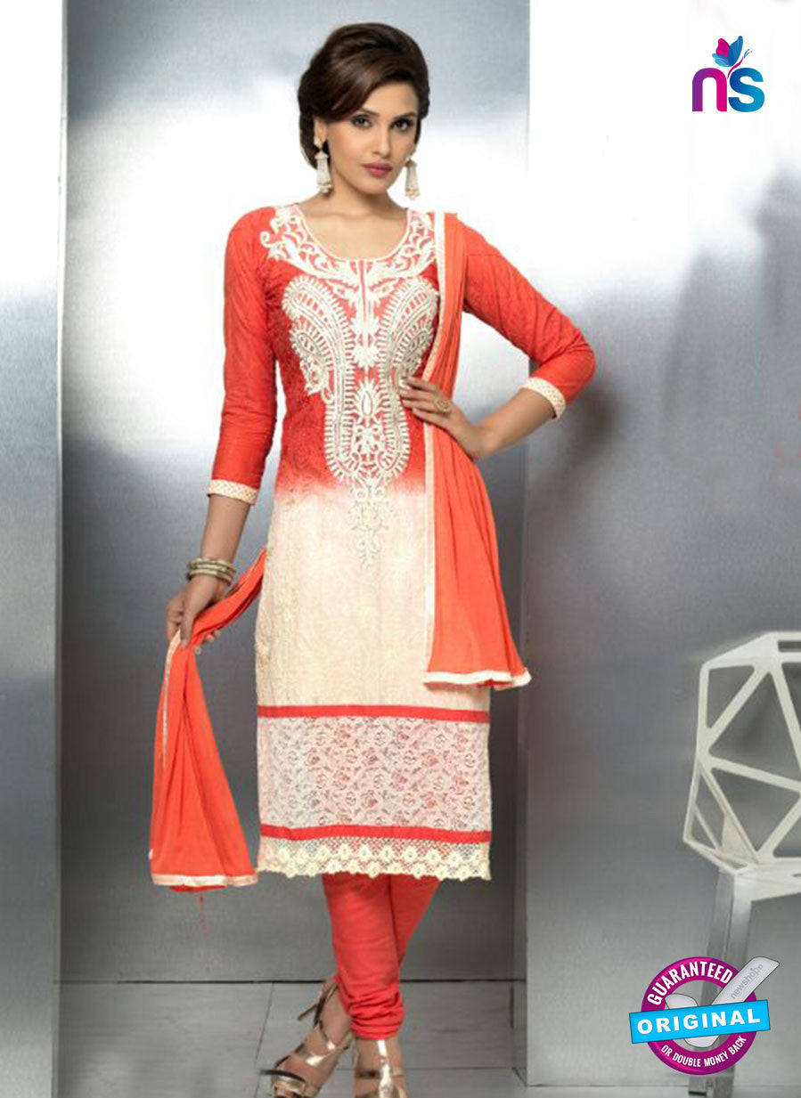 NS10715 Red and Ivory Party Wear Nazneen Designer Straight Suit