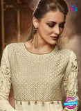 Beige Faux Georgette Anarkali Suit online shopping