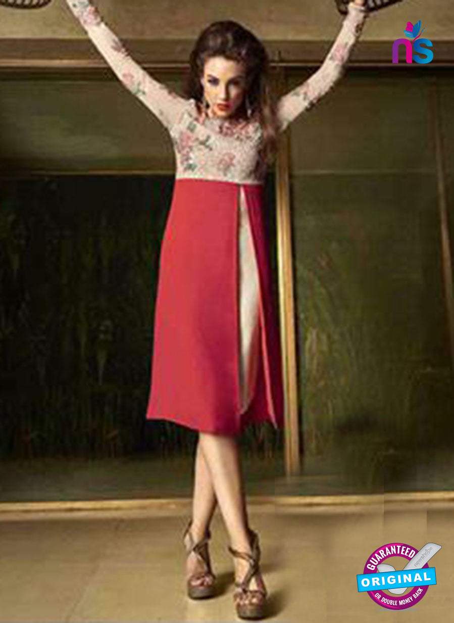 NS12026 Beige and Red Designer Kurti