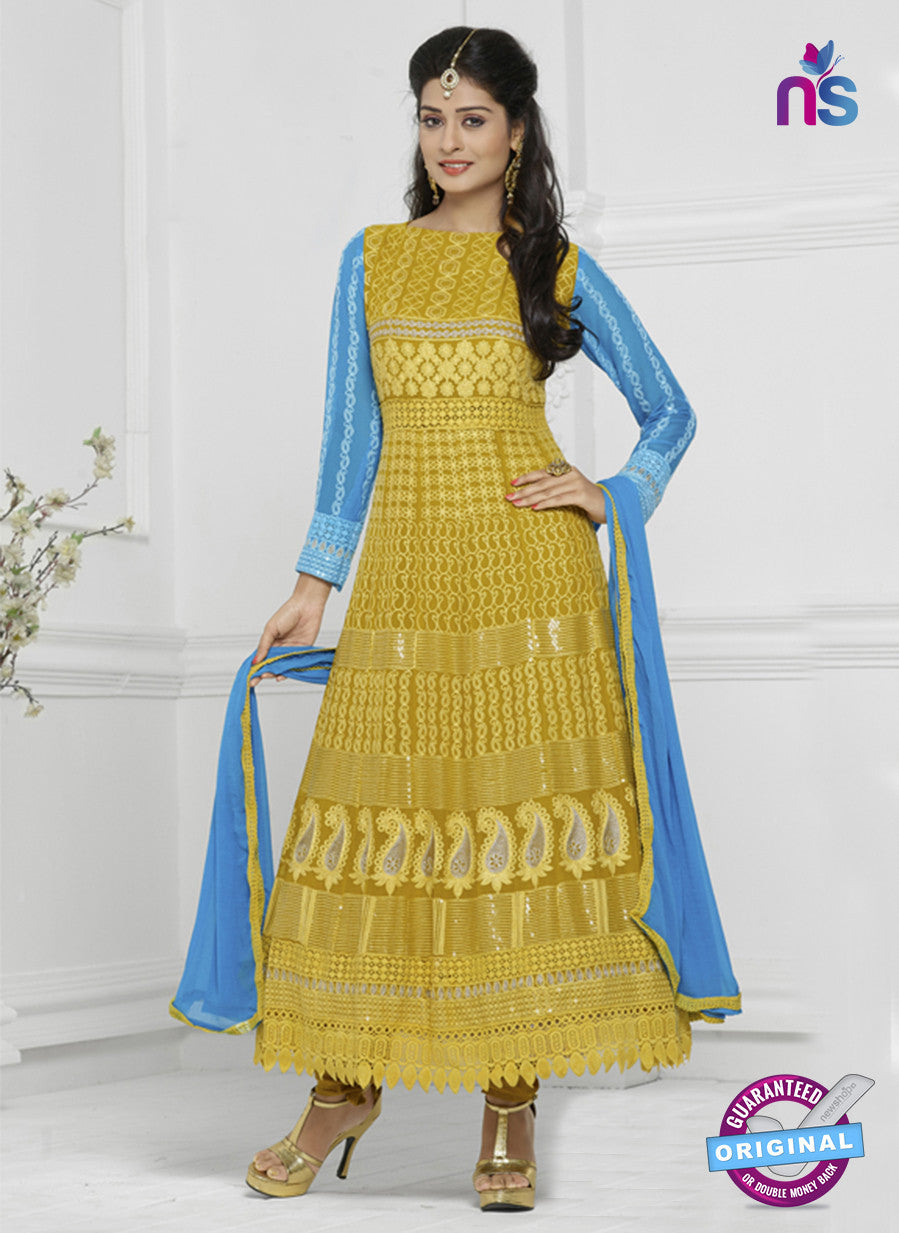 NS10291 Yellow and Sky Blue Chiffon Designer Anarkali Suit