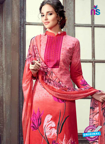 RT 17936 Red and Pink Cotton Suit