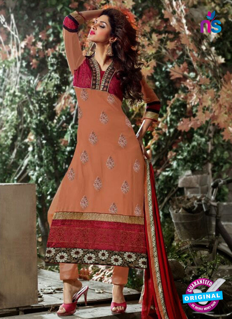 NS12255 Peach and Red Straight Suit