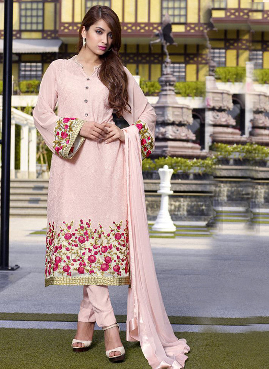 TM 18  Peach Color Georgette Designer Suit
