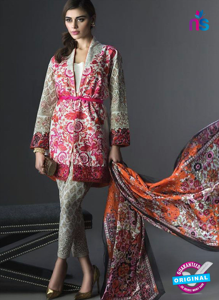 SC 13455 Pink and Multicolor  Embroidered Cambric Printed Suit