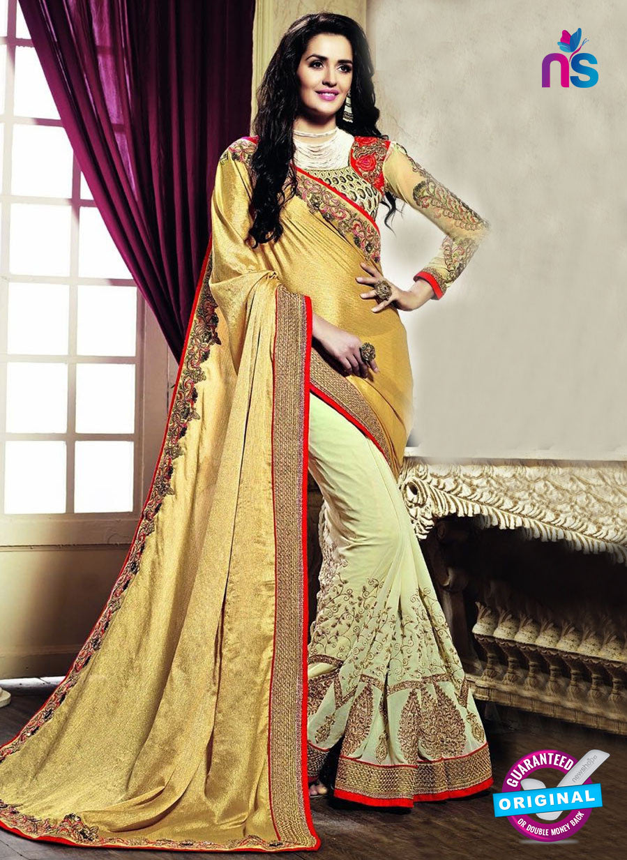 AZ 3640 Beige Georgette/jacquard Wedding Wear Saree