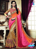 AZ 3641 Brown Georgette/jacquard Wedding Wear Saree