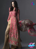 SC 13456 Pink and Beige Net  Embroidered Cambric Printed Suit