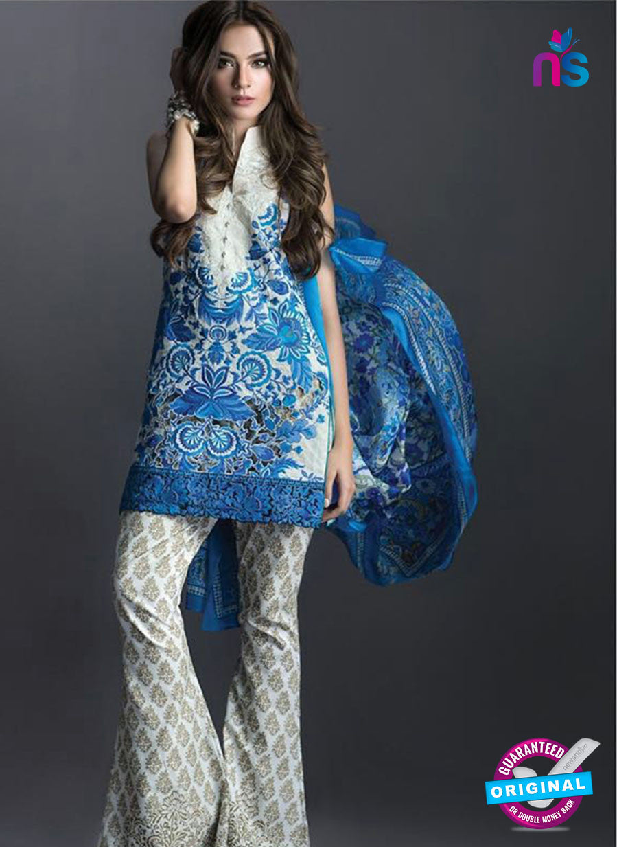 SC 13457 Blue and White  Embroidered Cambric Printed Suit
