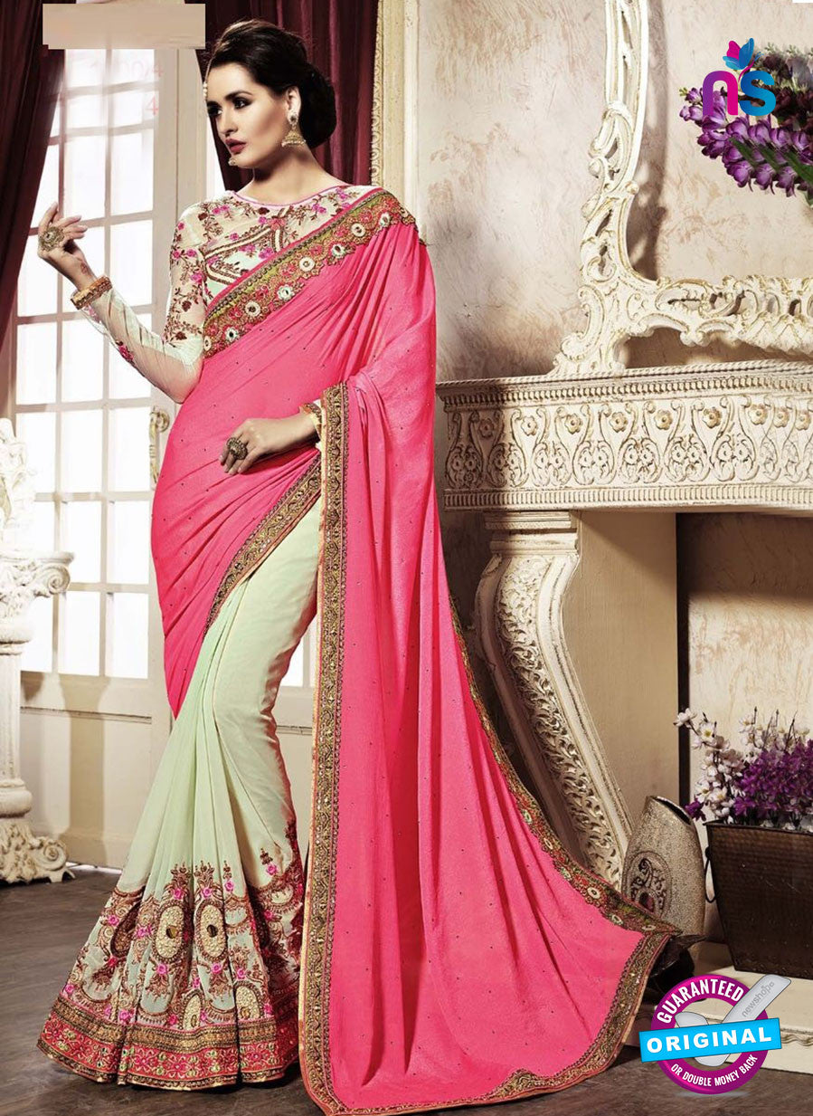 AZ 3643 Beige Georgette/jacquard Wedding Wear Saree